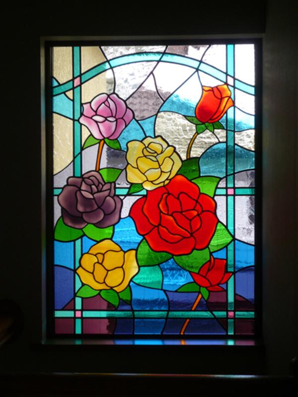 ステンドグラス 注文 オーダーメイド 新築 薔薇