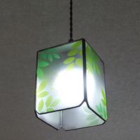 【照明】ステンドグラス、ペンダントライト,若葉のランプのサムネイル