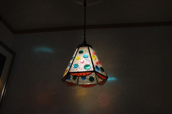 【照明】ステンドグラス、ペンダントライト,6面体ナギットのサムネイル