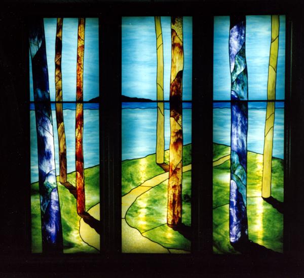 マンションエントランス ステンドグラス 3連窓 オーダーメイド 新築