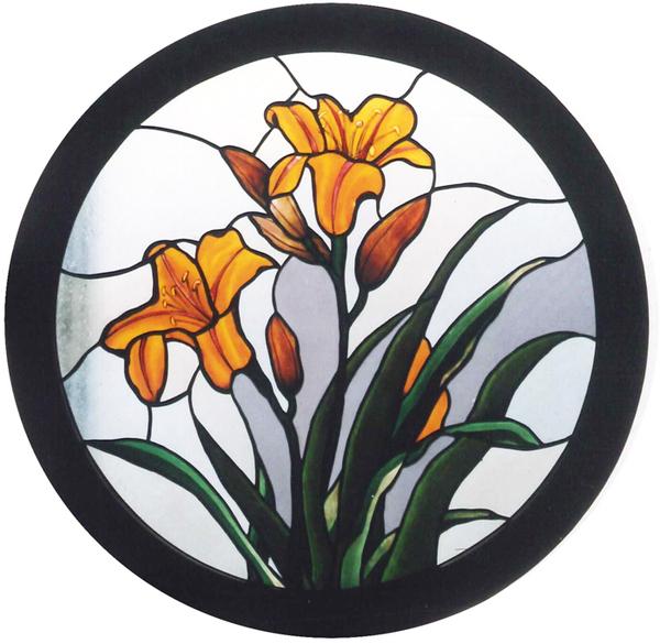 百合の絵付けステンドグラスパネルのサムネイル
