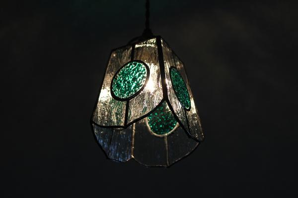 【照明】ステンドグラス、ペンダントライト,グリーン