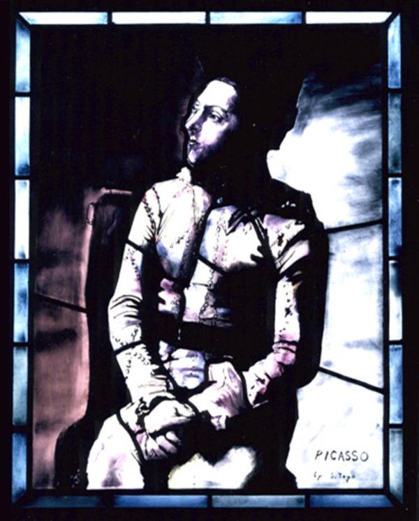 ピカソ 座るアルルカン、ステンドグラス 模写のサムネイル