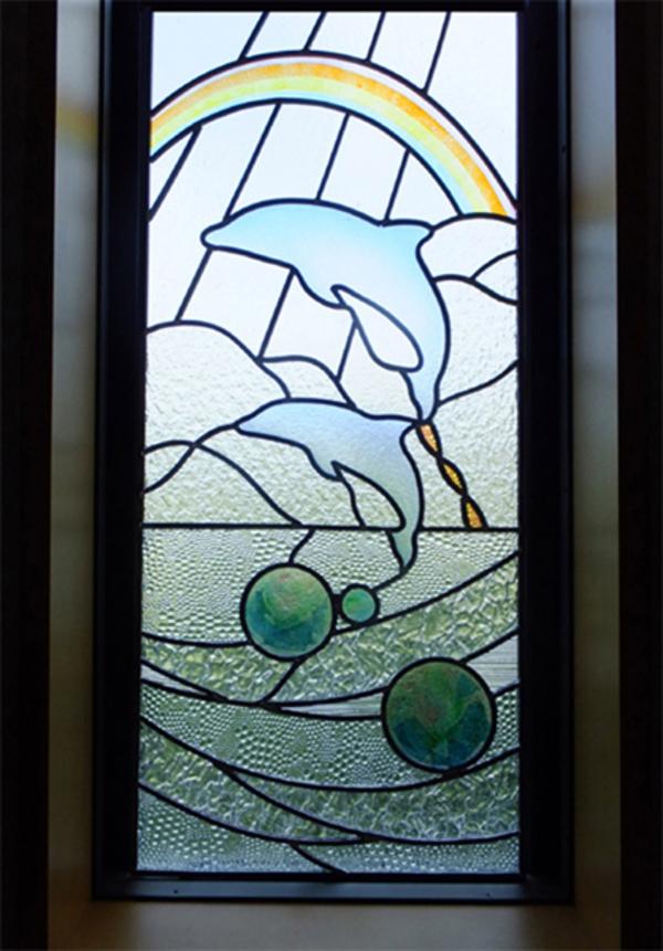 ステンドグラス オーダーメイド イルカのパネルのサムネイル