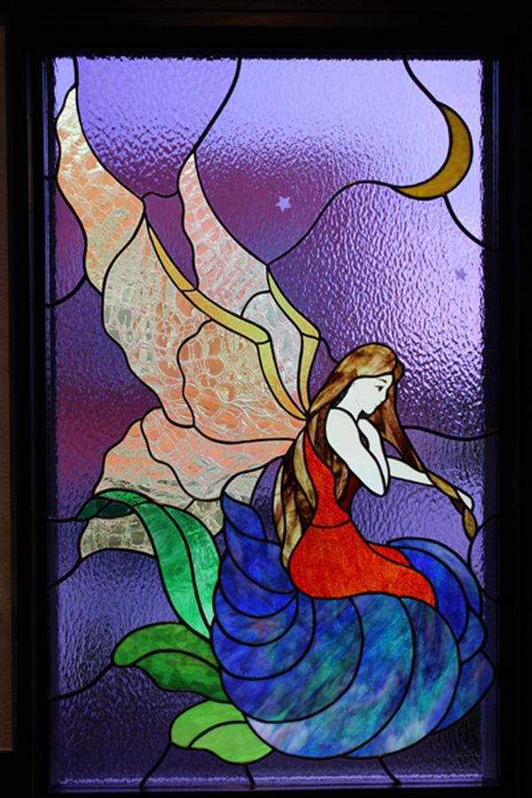 ステンドグラス リフォーム オーダーメイド 御宿の別荘 寝室窓