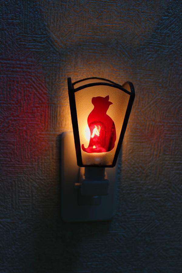 お休みライト,猫のステンドグラスランプ オーダーメイド 新築のサムネイル