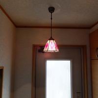 【照明】ステンドグラス、ペンダントライト,6面体ピンクのサムネイル