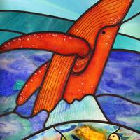ステンドグラス 注文 オーダーメイド 新築 宇宙とクジラのサムネイル