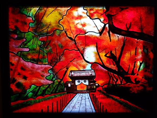 晩秋の光明寺 ステンドグラス オーダーメイドのサムネイル