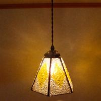 【照明】ステンドグラス、ペンダントライト,6面体イエローのサムネイル