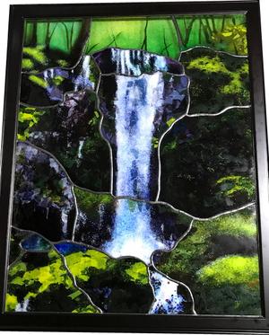 瀧のステンドグラスパネル オーダーメイド