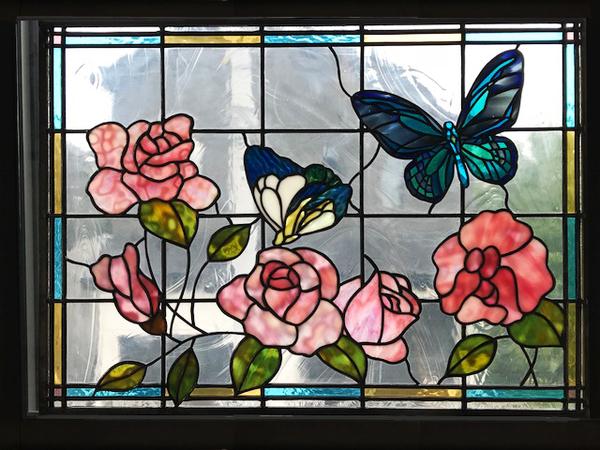 ステンドグラス オーダーメイド 新築 薔薇と蝶々