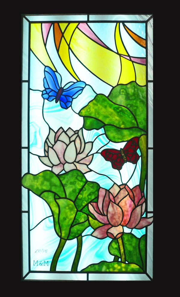 ステンドグラス 注文 オーダーメイド 新築 蓮と蝶々のサムネイル