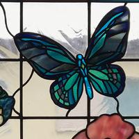 ステンドグラス オーダーメイド 新築 薔薇と蝶々のサムネイル