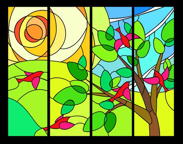 ステンドグラス オーダーメイド 幼稚園の窓デザイン