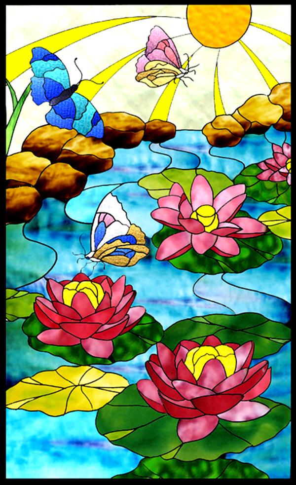 ステンドグラス オーダーメイド 水連のデザインのサムネイル