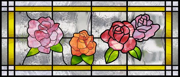 ステンドグラス オーダーメイド 薔薇のデザイン