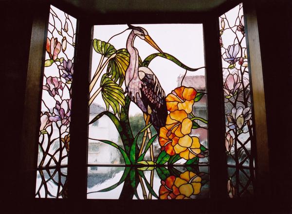 ステンドグラス   オーダーメイド 新築 リフォーム 鷺と木蓮のサムネイル