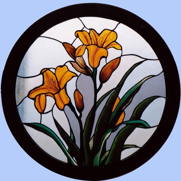 ステンドグラス オーダーメイド ヤマユリの円窓のサムネイル