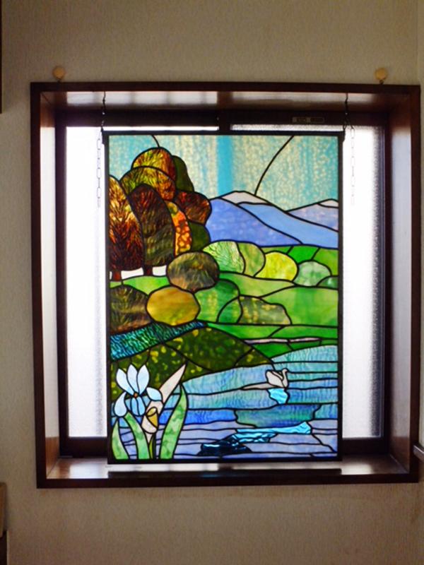 玄関窓に設置 湖のパネルのサムネイル