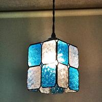 ステンドグラス 注文 市松模様のランプ