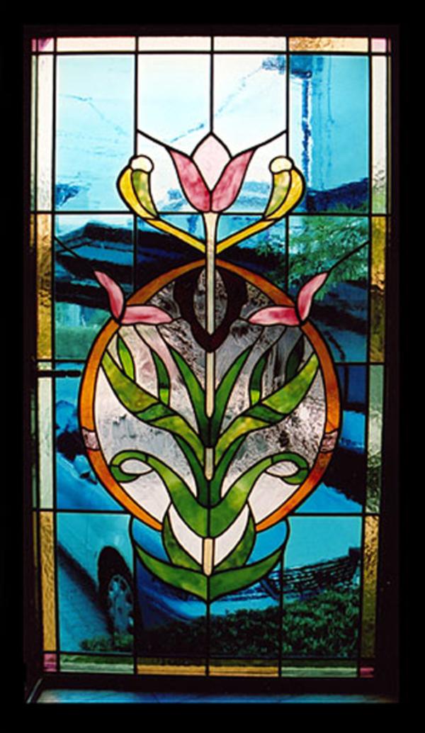 ステンドグラス オーダーメイド 愛する奥様へ、花のパネル