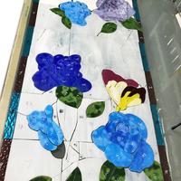 青いバラのステンドグラス、途中経過